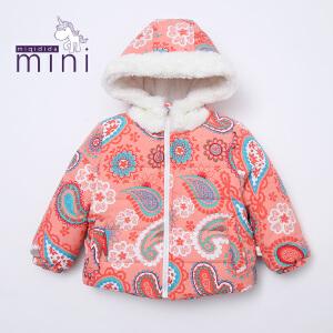 【满200减100】米奇丁当迷你 2017冬装新款女宝宝印花棉服保暖外套婴童加绒外套