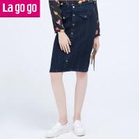 Lagogo2016秋季新款高腰包臀裙中裙牛仔裙半身裙显瘦秋冬女裙子