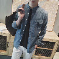 新款18秋季男士牛仔衬衫韩版修身立领薄款长袖衬衣青少年休闲寸衫
