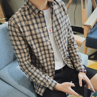 潮修身长袖衬衣小码男装S号矮小个子160男格子衬衫青少年寸衫