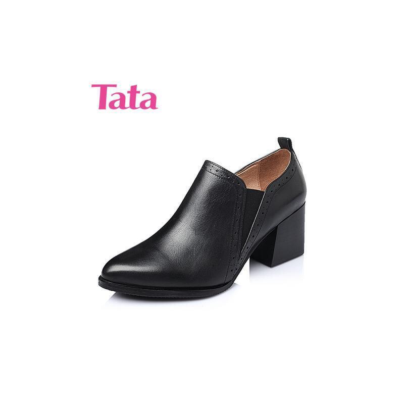 Tata/他她春季专柜同款小牛皮女单鞋2I822AM6 2017单鞋女