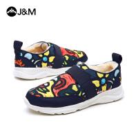 jm快乐玛丽冬季平底休闲设计师涂鸦个性加绒保暖套脚女鞋子78020W