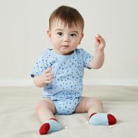 迷你巴拉巴拉男女婴儿三角衣2019夏装新款童装新生儿纯棉连体衣和尚服