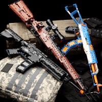 玩具枪刺激ak47拼装积木男孩信号抢套�b