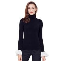网易严选 女式高领蕾丝袖全成型100%羊毛衫