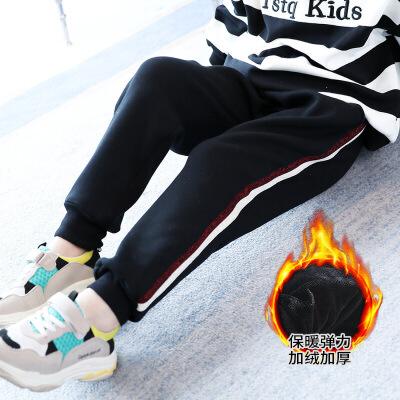 2019 男女童冬装加厚加绒裤子哈伦裤宽松肥大条子运动裤学生休闲弹力裤 黑色
