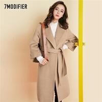 2018秋冬新款韩版通勤ol风衣系带收腰保暖毛呢外套中长呢大衣女