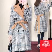 微胖女装韩版呢大衣千鸟格妮子毛呢外套女冬季中长款羊毛格子