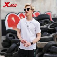 特步男子短袖T恤2018夏季新品学生跑步运动T纯色印花圆领套头上衣882229019226