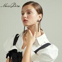 黑色复古耳环耳坠女气质长款流苏个性耳挂耳饰饰品