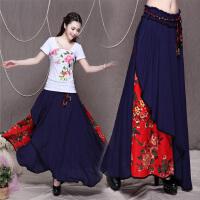 民族风半身长裙亚麻女装复古棉麻中国风荷叶边两穿裹胸裙
