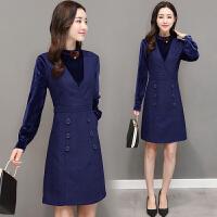秋冬新款韩版时尚假两件连衣裙女式修身显瘦金丝绒拼接半身裙