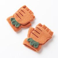 萝卜1-3岁婴幼儿童手套男冬保暖可爱卡通露指毛线手套女冬
