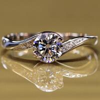S925银钻石戒指 女戒指钻戒 女情侣对戒尾戒结婚戒指环 85分 8号