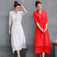 夏 棉麻连衣裙女中国风宽松不规则纯色五分袖仙女裙中长裙女