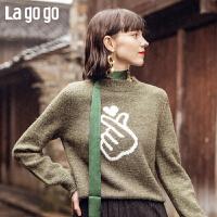 Lagogo/拉谷谷2019冬季款直筒印花长袖针织衫HCMM41XC28