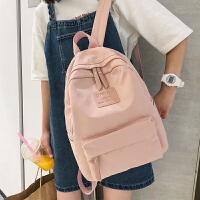书包背包女双肩包韩版网红2020新款百搭高中学生纯色校园帆布包