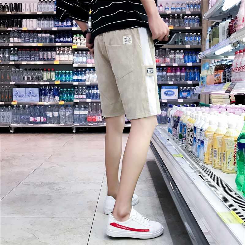 夏季男士休闲短裤宽松韩版灯芯绒5五分裤潮流百搭中裤男运动裤子 发货周期:一般在付款后2-90天左右发货,具体发货时间请以与客服协商的时间为准