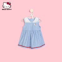 HelloKitty女童背心连衣裙2021夏季新款格子公主裙宝宝儿童装裙子