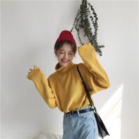 秋季女装韩版chic复古宽松显瘦高领打底衫长袖针织衫套头毛衣上衣 均码