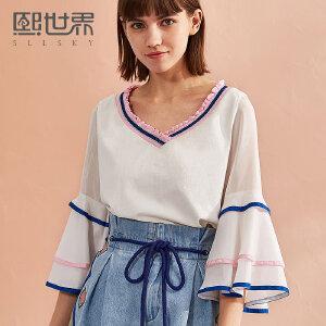 熙世界七分袖上衣女装夏上新棉质螺纹v领拼接喇叭袖T恤女112LT021