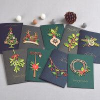 DREAMDAY韩国创意复古圣诞节卡片 立体木雕圣诞装饰祝福贺卡1904