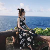 2018夏装新款韩版chic雪纺碎花吊带连衣裙海边度假沙滩裙显瘦长裙 图片色