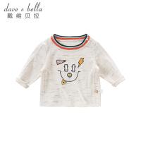davebella戴维贝拉2018秋季新款男童T恤 宝宝印花长袖上衣DBA7829