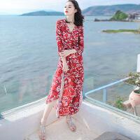 夏季新女装裙子修身中袖雪纺连衣裙波西米亚长裙海边度假沙滩裙 红色 X258