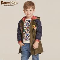 【1件4折 2件3折到手价:269】Pawinpaw宝英宝卡通小熊童装冬季款男童夹克儿童加绒中长款外套