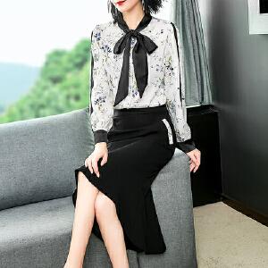 【限时促销!下单立减100!】2018秋季女套装新款长袖印花衬衫高腰修身半裙两件套