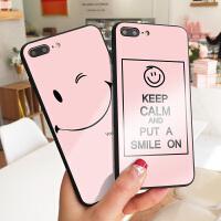 粉底笑脸玻璃苹果6手机壳简约彩绘iPhone7plus保护套x防摔硅胶XS MAX创意可爱卡通8气质女款硬壳x镜面玻璃