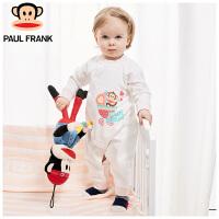 大嘴猴(Paul Frank)春季薄棉婴儿内衣新生儿棉衣婴幼儿长袖斜襟连身衣