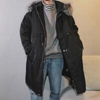冬天男士青年中长款韩版bf工装棉袄潮流加厚 帅气棉服连帽保安外套