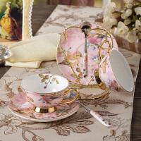 创意水杯骨瓷咖啡杯套装欧式陶瓷杯具蝴蝶咖啡杯带勺结婚礼物送新人朋友闺蜜情人节礼物520礼物