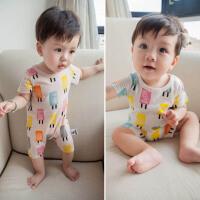婴儿短袖夏装连体衣03-6-12个月宝宝衣服夏季纯棉5初生新生儿爬服