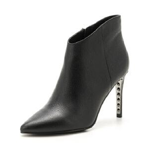 星期六(ST&SAT)冬季专柜同款牛皮革细跟尖头时尚短靴SS74116697