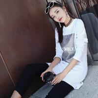 秋冬装新款长款加绒打底衫女长袖上衣中长款T恤宽松大码女装小衫t 白色