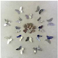 蝴蝶贴16只蝴蝶简约现代金属蝴蝶墙贴不锈钢镜面蝴蝶创意贴墙光亮 中