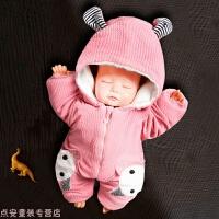 冬季初生婴儿衣服新生宝宝连体衣保暖加棉套装外出男女加厚秋冬季抱衣秋冬新款