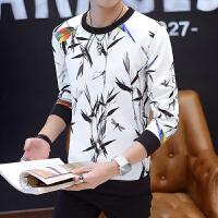 18春季新款男士韩版修身印花套头外套潮流青年小伙长袖卫衣