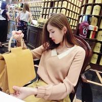 柒柒家雪纺衫女装春季韩版宽松娃娃领撞色长袖打底衫上衣2018新款