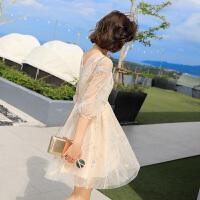 泰国雪纺网纱裙子女夏季韩版小清新沙滩裙海边度假中长款连衣裙