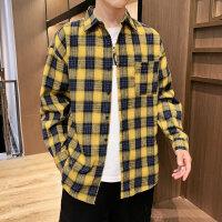 新款男格子长袖衬衫格子韩版潮流帅气青少年学生休闲衬衣男寸衣