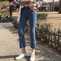 牛仔裤女春夏季2018新款简约休闲阔腿裤微喇叭高腰修身显瘦九分裤