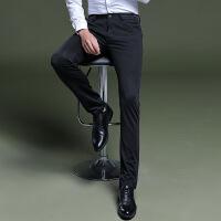 牌休闲裤男秋冬季新款修身免烫西裤青年商务直筒弹力黑色长裤子