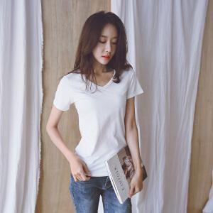 【下单立减120元,仅限今日】2018夏装新款纯色常规韩版白色V领宽松上衣短袖棉t恤女上