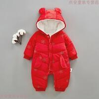 婴儿冬装连体衣加厚1岁外出抱衣6男女宝宝9哈衣3新生儿年服圣诞装 红色