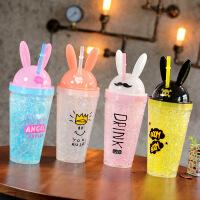 汉馨堂 塑料杯 可爱时尚兔耳朵双层吸管式水杯创意酷兔冰杯卡通杯