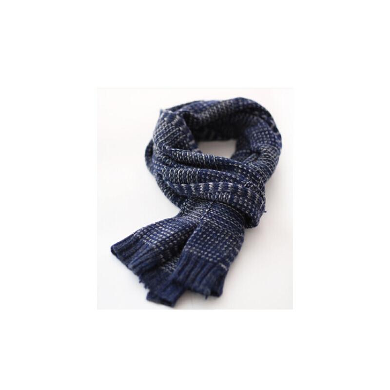 格子韩版潮冬季保暖 混色羊毛混纺男士围巾毛线男士围脖